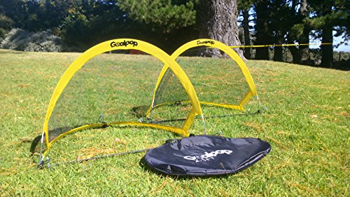 GOALPOP 2.5FT Set of Two Pop Up Goals for Soccer Training – Portable Soccer Goals Net & Carry Bag. Fold-able, Perfect for Young Kids, and Easy to Carry. Weighing Just a Couple of Pounds.
