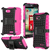 Cellularvilla LG Optimus L90 Dual D410 D415 D405 T-Mobile Pink Black Tough Hard Soft Heavy duty Rugged 2 in 1 Combo Hybrid Dual Layer Grip Protection Case Cover Protector with Build in Kickstand