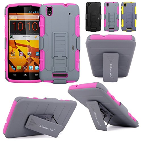 Cellularvilla Kickstand Case For ZTE Max N9520 (Boost Mobile) 3pc 3rd Gen Hard Soft Hybrid Kickstand Case with Holster Belt Clip Case Cover (Pink Grey) (Boost Mobile N9520 Phone Case)
