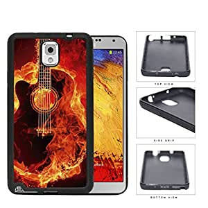Acoustic Guitar Burning With Fire Flames Rubber Silicone TPU Cell Phone Case Samsung Galaxy Note 3 III N9000 N9002 N9005