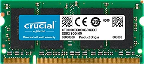 Crucial 4GB Single DDR2 800MHz (PC2-6400) CL6 SODIMM 200-Pin Notebook Memory Module CT51264AC800 (Inspiron 1720 English)