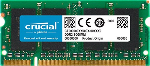 Crucial 1GB DDR2-667, PC2-5300, 200-pin SODIMM CL=5 Unbuffered NON-ECC Laptop Memory - CT12864AC667 4608 Sb