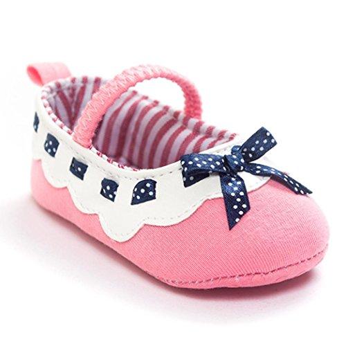 Ecosin® Girl Bowknot Ribbon Anti-slip Soft Sole Mary Jane Shoes (6-12month, Pink)