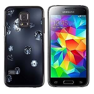 TopCaseStore / la caja del caucho duro de la cubierta de protección de la piel - Diamond Blue Rain Jewel Bling Grey Autumn Nature - Samsung Galaxy S5 Mini, SM-G800, NOT S5 REGULAR!
