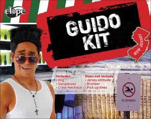 elope Guido Costume Kit (Black Tough Guy Wig)