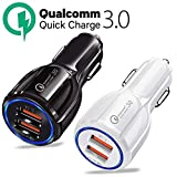 Onbio Car Charger QC3.0 Certified Quick Charge Dual 2 USB Port Fast Vehicle Charger for iPhone,iPad,Tablet,Samsung,HTC,Sony Other USB Device (01-Black)