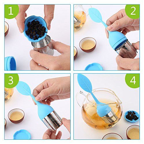 Tea Infuser, Teroys 4 Pcs Tea Strainer Filter Stainless Steel Loose Tea Steeper with Silicone Long Handle Drip Tray for Loose Leaf Grain Tea Cups, Mugs, and Teapots  (4pc-Leaf) by Teroys (Image #2)