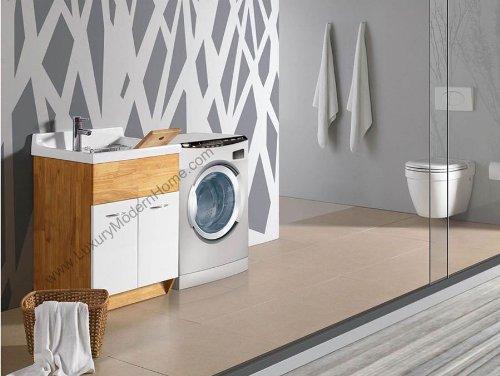sink ALEXANDER 24'' OAK Utility Sink - OAK Modern Mop Slop Tub Deep Sink Ceramic Laundry Room Vanity Cabinet Contemporary Hardwood Hard wood by www.LuxuryModernHome.com (Image #3)