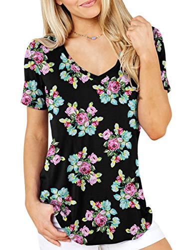 (TASAMO Women Comfy Loose Fit Short Sleeve V Neck Lightweight Cotton Print T Shirt Top Tee(Small,Flower Red Black))