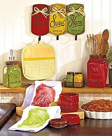Primitive Mason Jar Red Yellow Green Collection Wall Hanger Hooks Utensil  Holder Measuring Cups Salt N