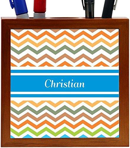 Rikki Knight Christian Blue Chevron Name Design 5-Inch Wooden Tile Pen Holder (RK-PH3804)