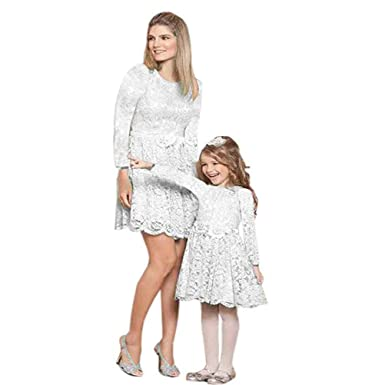 027622573ee9c7 Mother and Daughter Matching Lace Mini Dress Casual A Line Mom and I Adult  Kids Matching