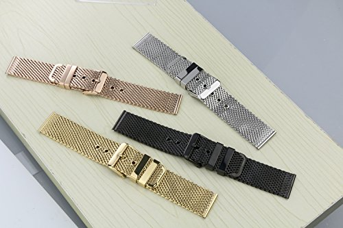 20mm Luxury Black Milanese Loop Bracelets Polished Mesh Steel Watch Band Solid 316L Stainless Steel by autulet (Image #4)