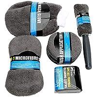9 Pcs Auto Care Car Wash Cleaning Kit Include 3 Microfiber Towels, 3 Applicator Pads, Wash Sponge, Wash Glove, Wheel…
