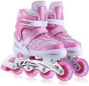 Kids Inline Skates for Girls Boys Beginners Adjustable, All 8 Wheels Illuminating.