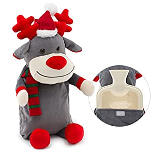 HomeTop Premium Classic Rubber Hot Water Bottle with Cute 3D Animal Cover (1L, Rudolph Reindeer)