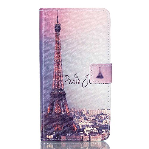 For Galaxy Note 5 Case, Karia PU Leather Wallet Book Case Cover with Stand Feature and Credit Card ID Holders For Samsung Galaxy Note 5 - Eiffel Tower in Paris (Eiffel Bookcase Stand)