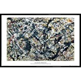 Jackson Pollock Poster und Kunststoff-Rahmen - Silver On Black (91 x 61cm)