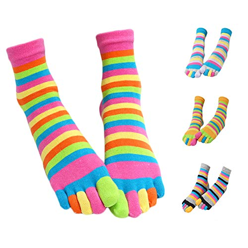 Five Toe Socks Women Cotton Socks with Toes Toe Separator Rainbow Socks Pack Of 4 (Multicolored) ()
