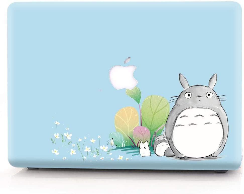 Hard Case Compatible MacBook Air 13/13.3 inch Model A1369 / A1466, Old Version, Release 2010-2017, AJYX Color Printing Matte Plastic Hard Protective Case Shell Cover, wh18 Totoro & Flower