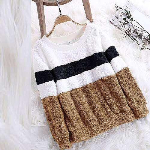 Pullover Donna O Shirt Ningsun Solido Sweatshirt Camicetta Collo Patchwork di Casual Sweater Moda Marina Colore Felpa Inverno Pullover da Tops Colorblock Abbinamento Tops Outerwear 4q4YFwOt