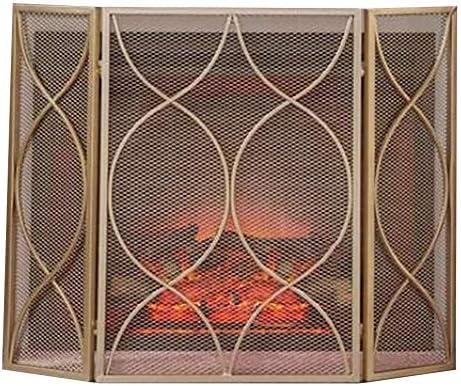 YXX-暖炉スクリーン 折り畳み式の3パネル暖炉スクリーン、ヨーロッパスタイル鍛鉄スパークガードプロテクターカバー、メタルメッシュ暖炉フェンス、ゴールド