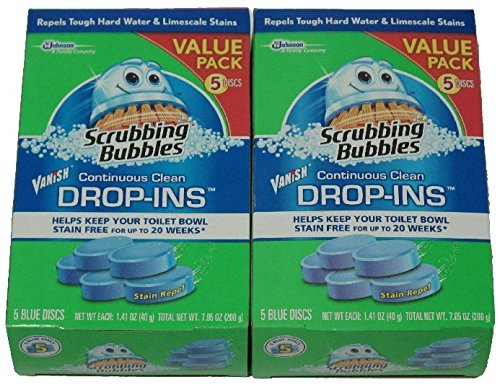 Scrubbing Bubbles Vanish Continuous Clean Toilet Bowl Drop-Ins, Box of 5 Blue Discs (2-Pack, 10 Discs Total)