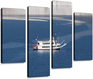 HIPOLOTUS 4 Panel Canvas Pictures Lake Mead Cruise from Hoover Dam Steamship Stock Pictures Royalty Wall Art Prints Paintings Stretched & Framed Poster Home Living Room Decoration Ready to Hang