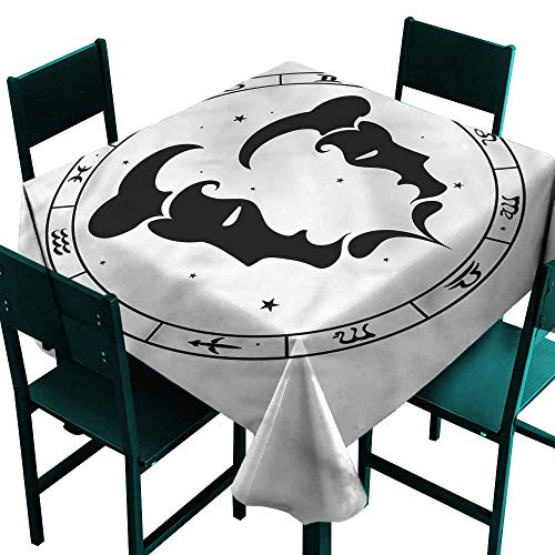 - DONEECKL Restaurant Tablecloth Zodiac Gemini Male Portraits Excellent Durability W50 xL50
