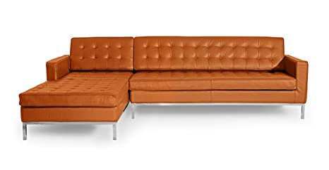 Superb Kardiel Fklsec Caramel Florence 100 Full Premium Knoll Style Left Sectional Sofa Leather Caraccident5 Cool Chair Designs And Ideas Caraccident5Info