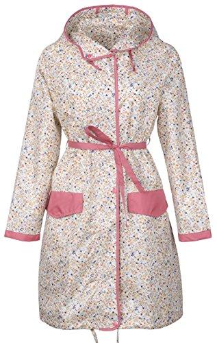 Flower Raincoat - QZUnique Women's Packable Waterproof Rain Jacket Outdoor Poncho Raincoat with Hood Beige Flower