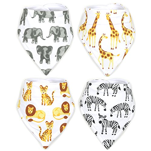 Stadela Baby Adjustable Bandana Drool Bibs for Drooling and Teething Nursery Burp Cloths 4 Pack Unisex Baby Shower Gift Set for Girl and Boy – Safari Africa Jungle Animal Elephant Giraffe Lion Zebra -