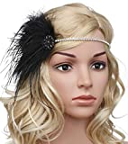 BABEYOND Vintage 1920s Flapper Headband Roaring 20s Great Gatsby Headpiece with Feather 1920s Flapper Gatsby Hair Accessories Black