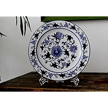 Decorative Blue and White Plates Wall Plates Wall Hanging for Home and Room Decoration with Flower  sc 1 st  Amazon.com & Amazon.com: Decorative Blue and White Plates Wall Plates Wall ...