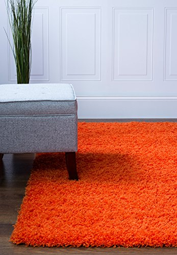 Super Area Rugs Cozy Plush Solid Shag Rug, 2' x 3', Orange
