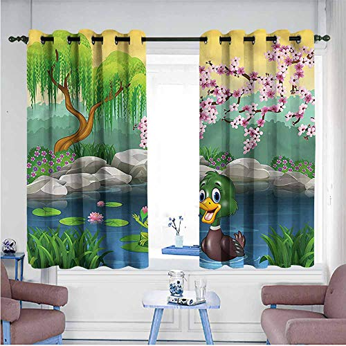 (VIVIDX Kids Curtains,Cartoon,Duck and Frog in a Lake,for Bedroom Grommet Drapes,W55x39L)