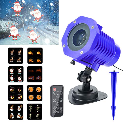 Christmas Projector Lights, Elegant Choise 2018 New Animated Projector Lights 8 Slides Wireless Remote Control LED Christmas Projector Light for Decoration Lighting on Christmas