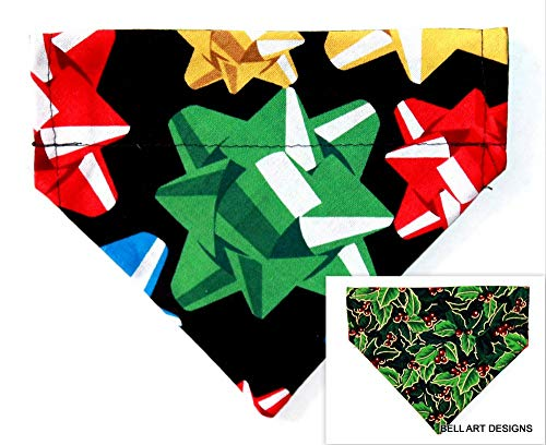 Bell Art Designs Dog Bandana, Christmas, Bows, Holly, Over The Collar, Reversible, Extra Small, 535