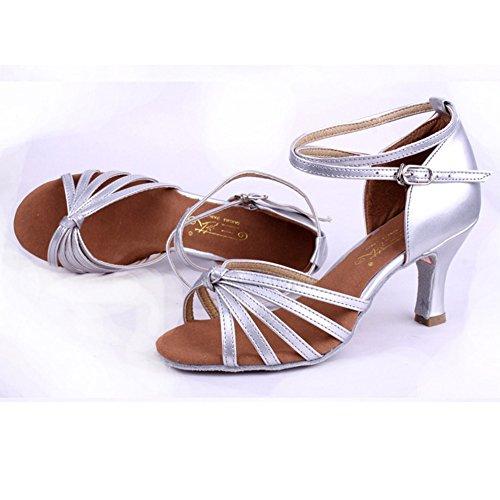 Silbern 5cm Latein Damen Absatz Schuhe Amurleopard t85Xq5