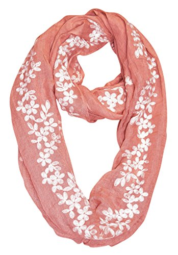 Peach Couture Sheer Soft Cloth Floral Embroidered Flower Infinity Loop Scarf (Rose Pink Daisy)
