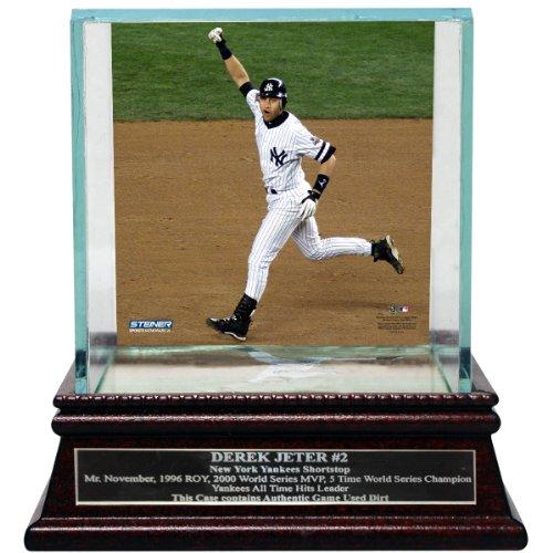 Single Baseball Glass Case (MLB New York Yankees Derek Jeter Moments Mr. November Background Glass Single Baseball Case with Nameplate)