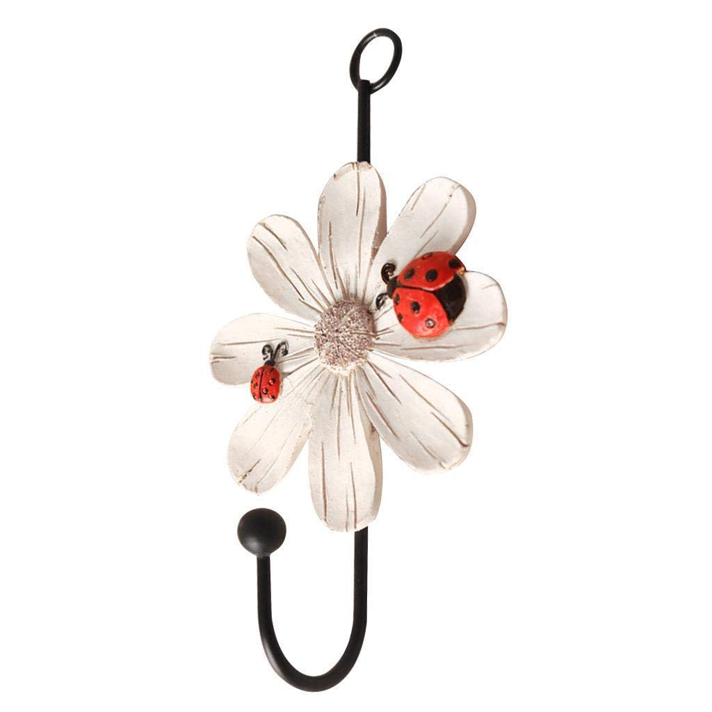 Agordo Home Decor Daisy Shape Wall Hook/Door Hanger for Clothes Hat Key Towel White