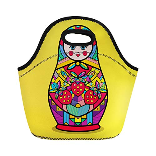 Semtomn Neoprene Lunch Tote Bag Matrioshka Traditional Russian Nesting Doll Flower Pop Pattern Flat Reusable Cooler Bags Insulated Thermal Picnic Handbag for Travel,School,Outdoors, Work