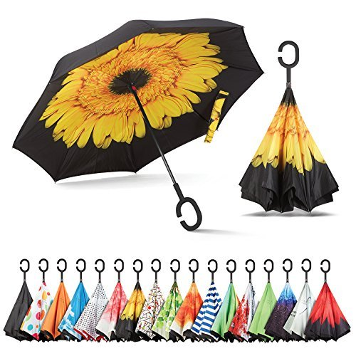 Clever Clean Sunflower - Sharpty Inverted Umbrella, Umbrella Windproof, Reverse Umbrella, Umbrellas for Women with UV Protection, Upside Down Umbrella with C-Shaped Handle (Yellow Flower)