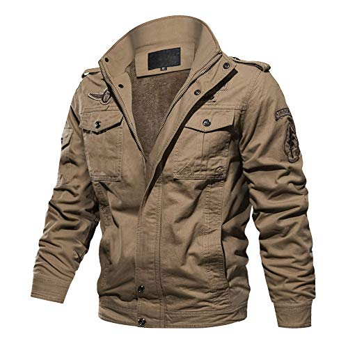 CRYSULLY Mens Fashion Winter Outwear Air Force Coat Shoulder Straps Thicken Cargo Jacket ()