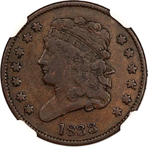 1833 P Half Cents Half Cent VF20 NGC BN ()