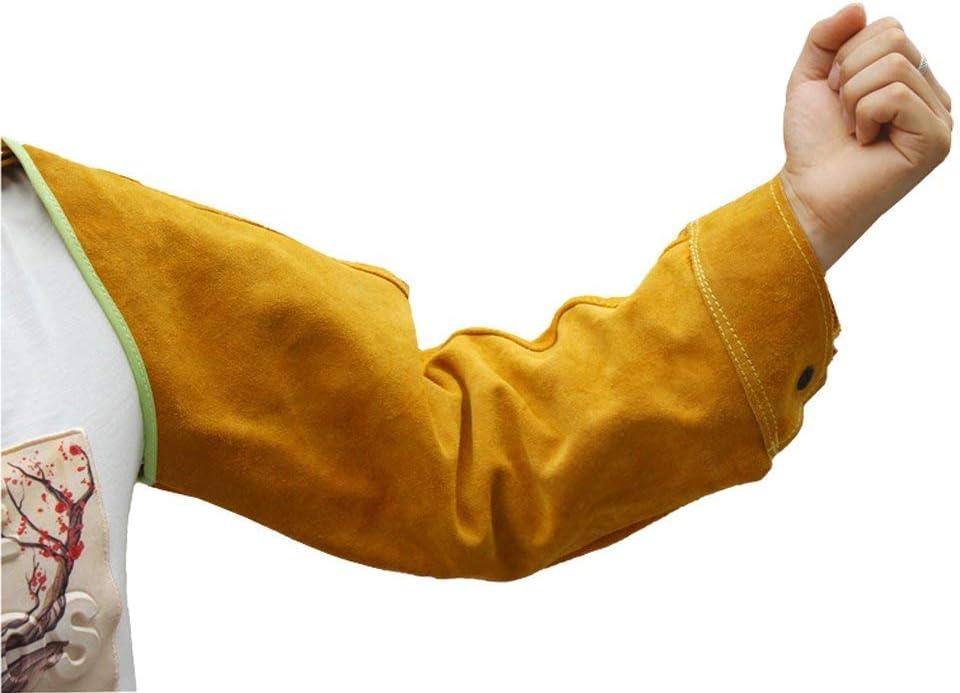 Mangas de Soldadura Resistentes al Calor Mangas de Trabajo de Soldadura de Cuero para Hombres y Mujeres Protector de Brazo Largo Amarillo