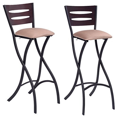 Costway Set Of 2 Folding Counter Bar Stools Bistro Dining Kitchen Pub Chair Furniture, 29.9'