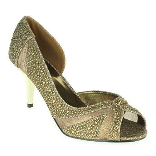 Mujer Señoras Piedras de Strass Brillar Corte lateral Peep Toe Tacón medio Noche Boda Fiesta Paseo Sandalias Zapatos Talla Marrón.