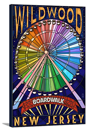 Wildwood, New Jersey - Boardwalk Ferris Wheel (12x18 Gallery Wrapped Stretched Canvas)